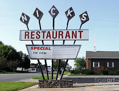 Nicks Restaurant Poster by Alan Crabtree