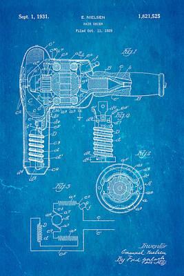 Nielsen Hair Dryer Patent Art 1929 Blueprint Poster by Ian Monk