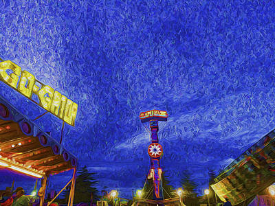 Night At The Fair Poster by Paul W Sharpe Aka Wizard of Wonders