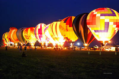 Night Glow Hot Air Balloons Poster by Thomas Woolworth