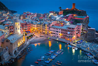 Night In Vernazza Poster by Inge Johnsson