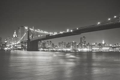 Night - New York City - Brooklyn Bridge Poster by Vivienne Gucwa