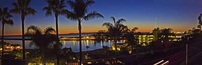 Night Over Newport Beach Panorama Poster by Harold Vaagan