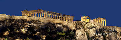 Night Panoramic View Of Acropolis Poster by Baltzgar