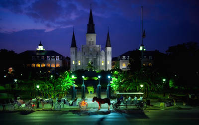 Nighttime Over Jackson Square In New Orleans Poster by Mountain Dreams