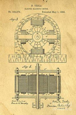 Nikola Tesla Coil Patent Art Poster by Edward Fielding