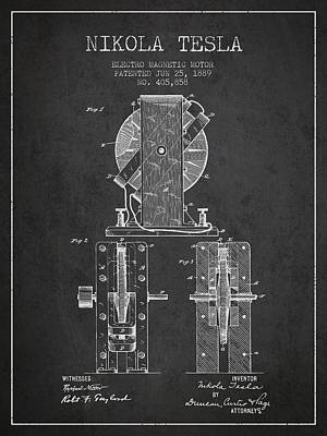 Nikola Tesla Electro Magnetic Motor Patent Drawing From 1889 - D Poster by Aged Pixel