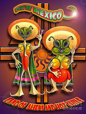 New Mexico Land Of Aliens And Hot Chile Poster by Ricardo Chavez-Mendez