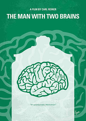 No390 My The Man With Two Brains Minimal Movie Poster Poster by Chungkong Art