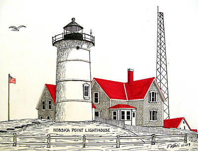 Nobska Point Lighthouse Drawing Poster by Frederic Kohli