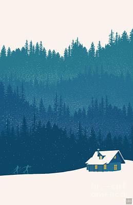 Nordic Ski Scene Poster by Sassan Filsoof