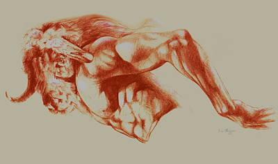 North American Minotaur Red Sketch Poster by Derrick Higgins