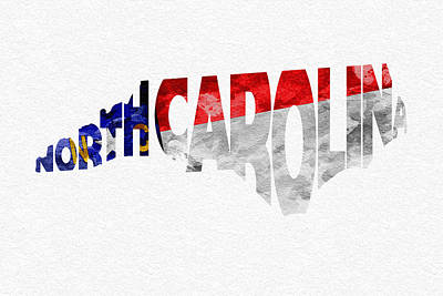 North Carolina Typographic Map Flag Poster by Ayse Deniz