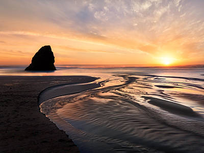 Northern California Coast Sunset Poster by Leland D Howard