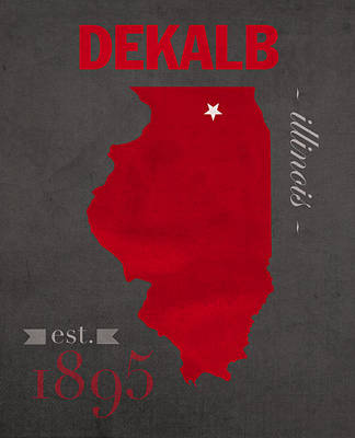 Northern Illinois University Huskies Dekalb Illinois College Town State Map Poster Series No 079 Poster by Design Turnpike
