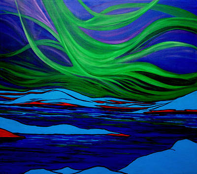 Northern Lights Poster by Kathy Peltomaa Lewis