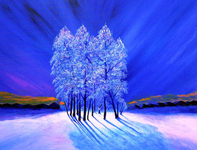Northern Lights Moody Spruce Tree Shadows Poster by Reggie Hart