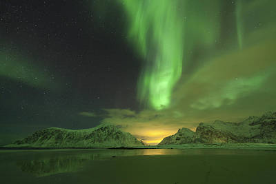 Northern Lights With Light Pollution Poster by Sandra Schaenzer