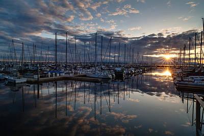 Northwest Marina Sunset Sunstar Poster by Mike Reid