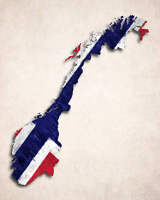 Norway Map Art With Flag Design Poster by World Art Prints And Designs