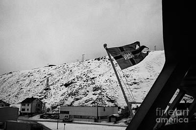 Norwegian Post Flag Flying On Stern Of Hurtigruten Coastal Ship Havoysund Finnmark Norway  Poster by Joe Fox