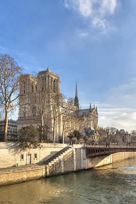 Notre Dame De Paris On A Sunny Winter Day Poster by Mark E Tisdale