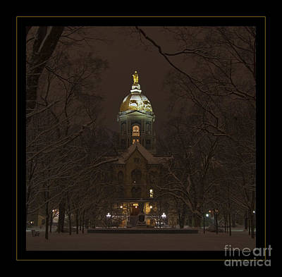 Notre Dame Golden Dome Snow Poster Poster by John Stephens