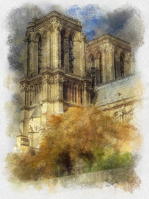 Notre Dame Twin Towers Poster by Rick Lloyd