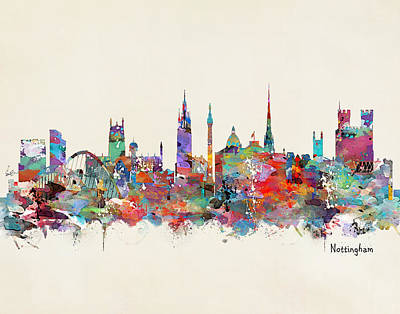Nottingham City Skyline Poster by Bri B