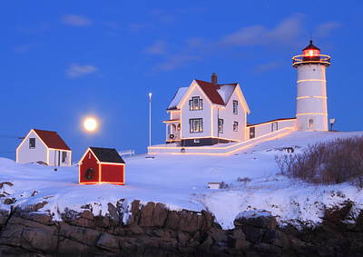 Nubble Lighthouse Full Moon And Holiday Lights Poster by John Burk