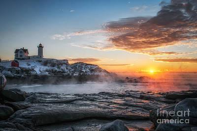 Nubble Lighthouse Sea Smoke Sunrise Poster by Scott Thorp