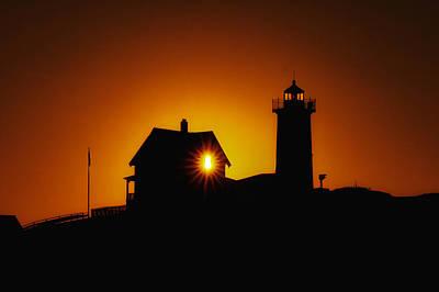 Nubble Lighthouse Sunrise Starburst Poster by Scott Thorp