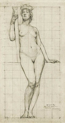 Nude Architectural Figure Study  1896 Poster by Daniel Hagerman