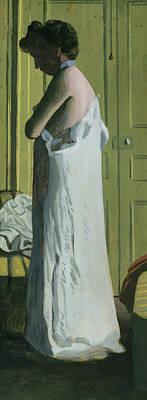 Nude In An Interior Poster by Felix Edouard Vallotton