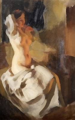 Nude In Fire Light Poster by Anders Zorn