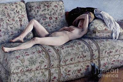 Nude On A Couch Poster by Gustave Caillebotte