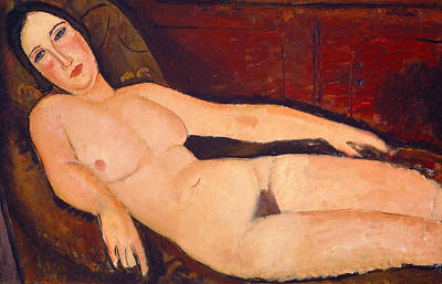Nude On A Divan Poster by Amedeo Modigliani