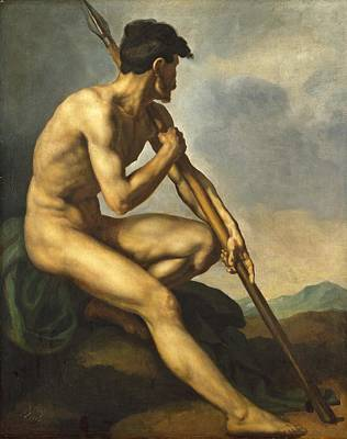 Nude Warrior With A Spear Poster by Theodore Gericault