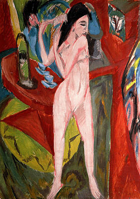 Nude Woman Combing Her Hair Poster by Ernst Ludwig Kirchner