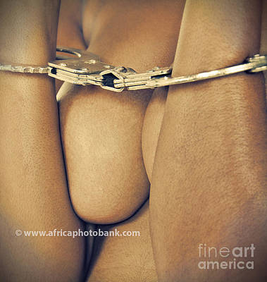 Nude Woman Handcuffed Poster by Lucian Coman