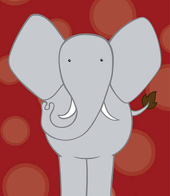 Nursery Art Elephant Red Poster by Christy Beckwith