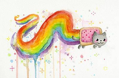 Nyan Cat Watercolor Poster by Olga Shvartsur