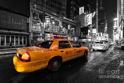 Nyc Cab Times Square Color Popped Poster by John Farnan