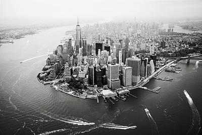 Nyc Manhattan Aerial Poster by Nina Papiorek