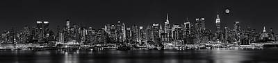Nyc Skyline Full Moon Panorama Bw Poster by Susan Candelario