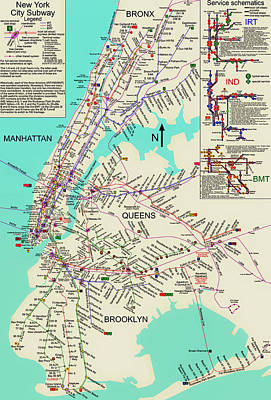 Nyc Subway Map Poster by Mountain Dreams