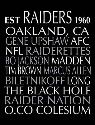 Oakland Raiders Poster by Jaime Friedman