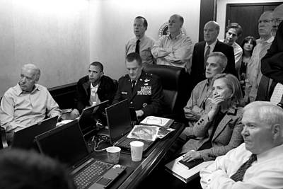 Obama In White House Situation Room Poster by War Is Hell Store