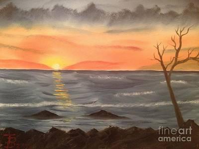 Ocean At Sunset Poster by Tim Blankenship