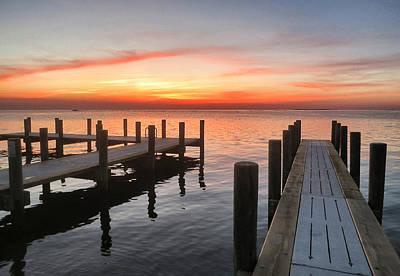 Ocracoke Pier At Sunset Poster by Patricia Januszkiewicz